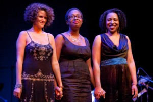2010 Thelonious Monk Vocal Competition finalists, from left: Cyrille Aimée, Charenée Wade and winner Cécile McLorin Salvant. Photo by Steve Mundinger, courtesy of the Thelonious Monk Institute of Jazz.