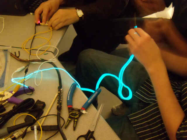 Apply pressure to the Torch Cord to illuminate it. (Courtesy of the Clarksburg High School Coyote Inventors.)