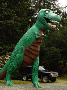 A Tyrannosaurus at Prehistoric Gardens in Oregon. From Flickr user sillydog.