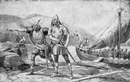 A Viking Landing On Hostile Coast As Depicted In History From The Victorian Era