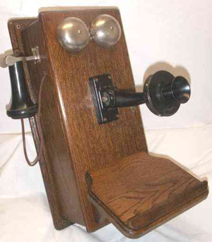 "A Western Electric Model 317 telephone, one of the most popular on sale in the Midwest in 1911-12. Note the phone's startlingly ""human"" features."