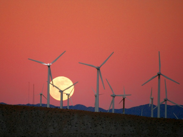 wind turbines and moon
