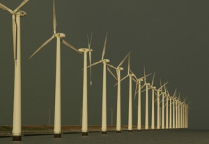 Shoreline wind generators, The Netherlands. Photo (c) Gary Braasch/ Earth Under Fire