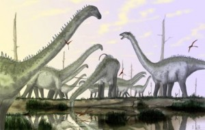 A herd of Diplodocus with their necks in a raised posture, by Mark Witton.
