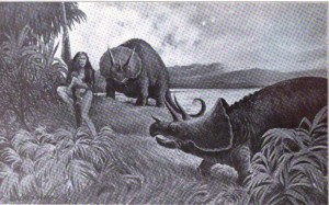 "An unfortunate woman climbs down a tree to come face-to-face with a pair of Triceratops. From the story ""In the Morning of Time"""