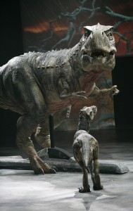 A mother and baby Tyrannosaurus in the Walking With Dinosaurs live show.
