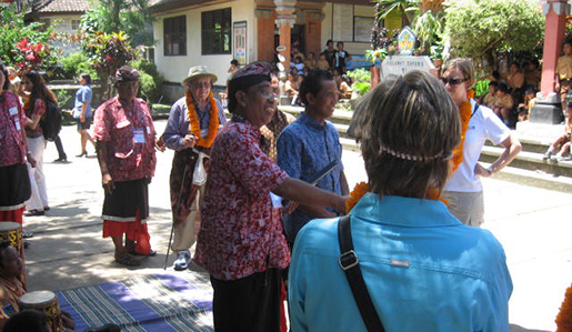 Smithsonian travelers at a Balinese school