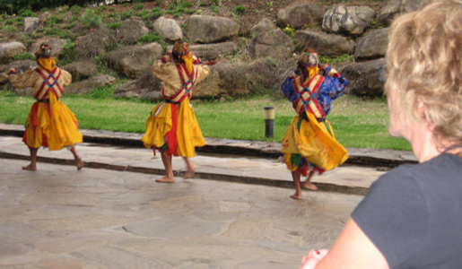 The group was greeted at their hotel by a local dance