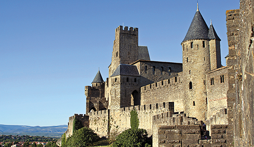 The fortified walls of medieval Carcassonne, France.