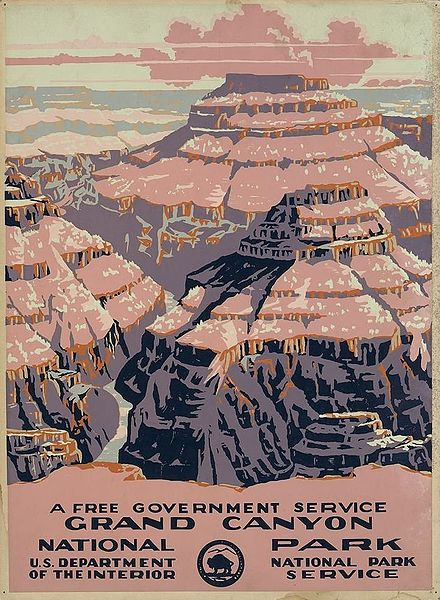 A 1938 poster advertising travel to the Grand Canyon. Image: Library of Congress.