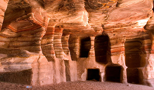Variegated sandstone burial chambers at Petra. Photo: Paul Cowan