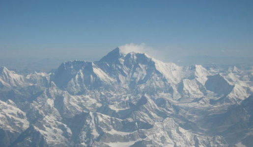 A Glimpse of Mount Everest from the Sky