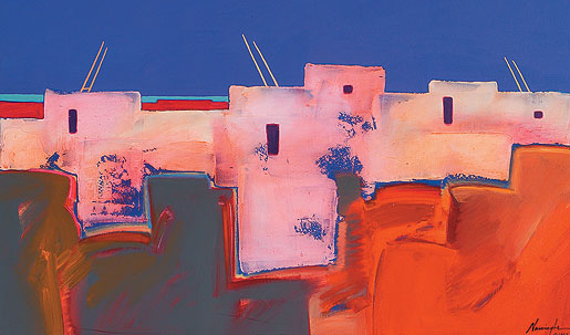 Pueblo at Dusk by Dan Namingha, 1987 Courtesy of the National Museum of the American Indian