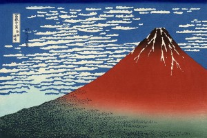 The print Red Fuji from Hokusai's famous series, Thirty-six Views of Mount Fuji.