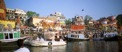 Ghants along the Ganges River in Varanasi.