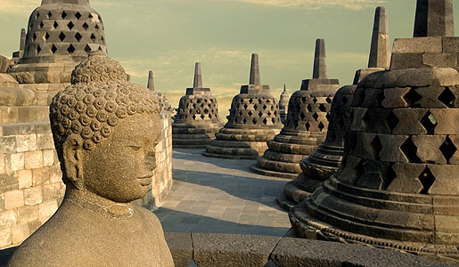 Borobudur has 92 Buddha statues and more than 1,400 stone panels.