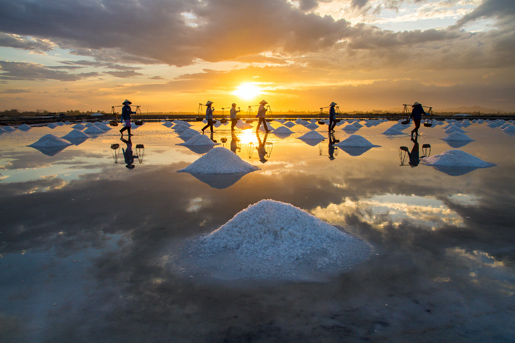 Ninh Hoa district, Khanh Hoa province, Vietnam, salt harvesting.