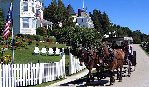 Mackinac prohibits the use of motorized vehicles on the island, thus one of the more common ways of travel is by horse and carriage.