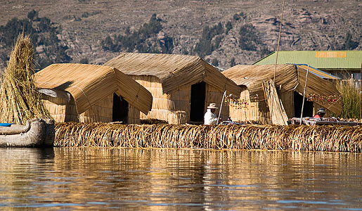 The hand-built island of Los Uros, floating on Lake Titicaca, in Peru.