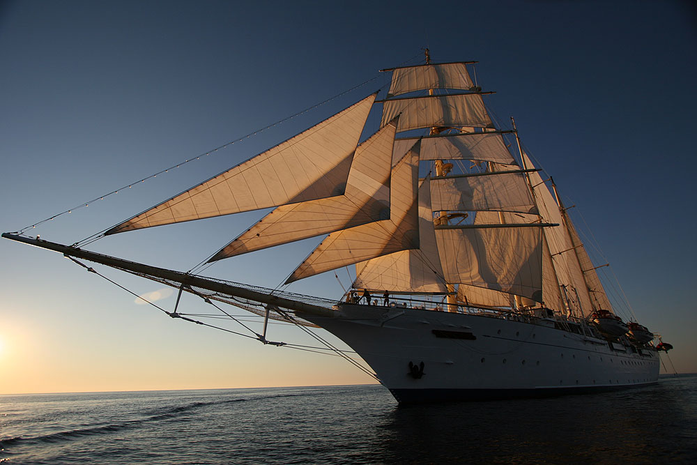The majestic Royal Clipper at Sunset