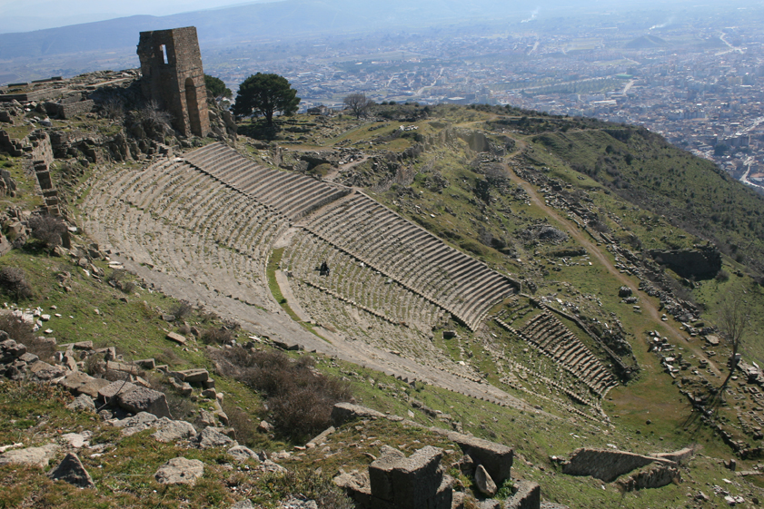 The theater of Pergamon can seat up to 10,000 people and had the steepest seating of any ancient theater at the time.