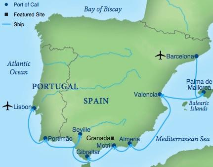 A Cruise Of Spain Portugal Smithsonian Journeys - Portugal map sea