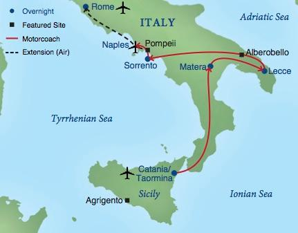 Sicily On Map Of Italy.Southern Italy And Sicily Smithsonian Journeys