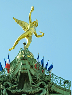 Gilded figure on top of Bastille Column