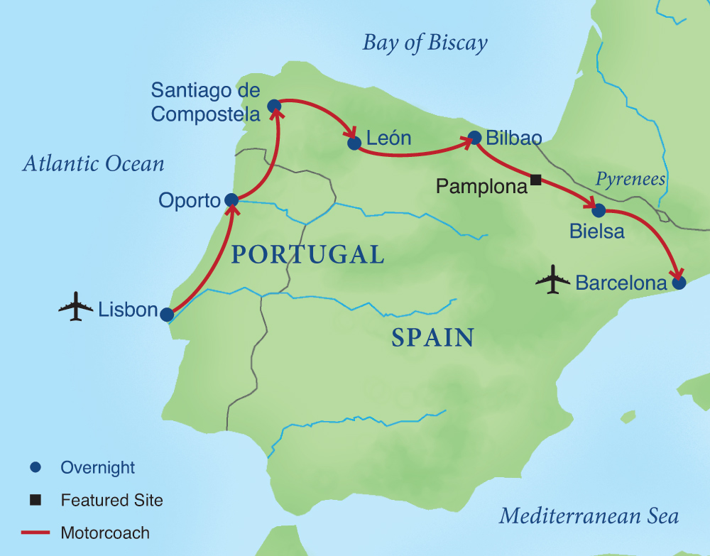 Across Northern Spain Portugal Smithsonian Journeys - Portugal map sea
