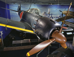 Mitsubishi A6M5 Zero on display in the WWII gallery, National Air and Space Museum. Photo by Eric Long/NASM.