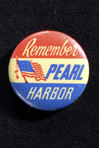 A lapel pin on display at the National Museum of American History. Photo courtesy of the museum.