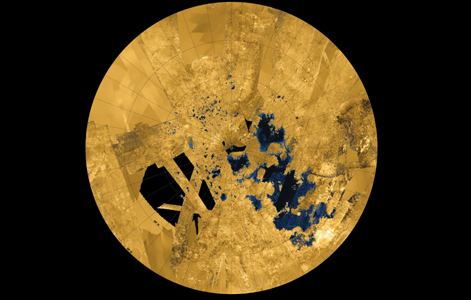 The Lakes in Titan's northern hemisphere (see a full-size version here). Image: NASA/ JPL/ ASI/ USGS