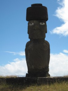 Moai with concrete eyes. Photo: Richard Kurin