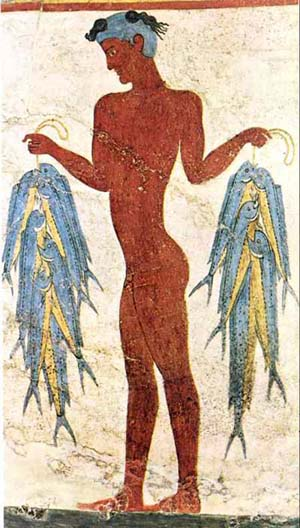 A Bronze Age fresco of a fisherman in Akrotiri on the Greek island of Santorini