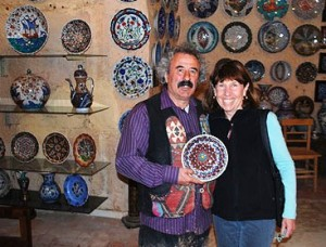Amy Kotkin with artist in Turkey