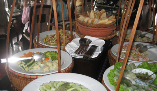 The travelers' buffet on their ship.
