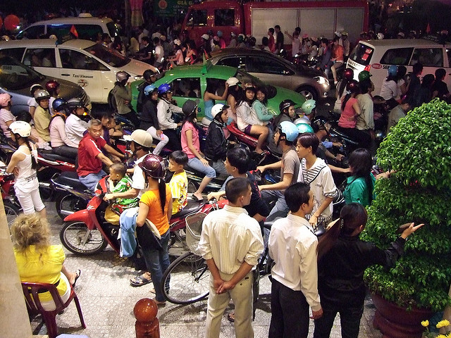 Crowded street during Tet in Saigon, Vietnam