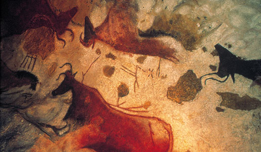 Horses, stags, and bulls adorn the caves at Lascaux, France.