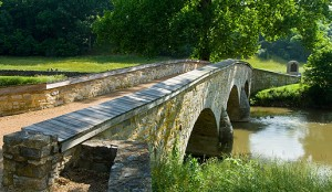 Burnside Bridge runs over Antietam Creek, site of the battle of Antietam.