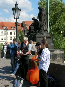 Musicians on the Charles Bridge in Prague. Photo: W. Higgins