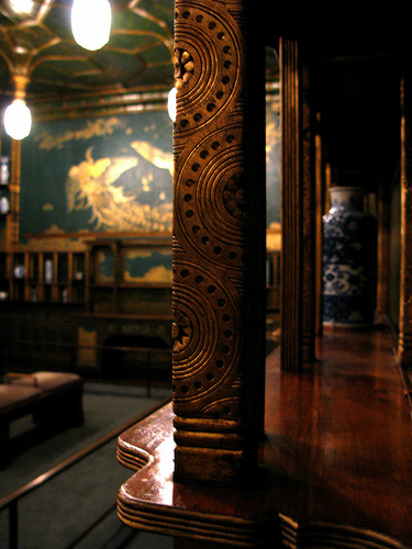 This view of the Peacock Room shows some of the ornamentation added by Whistler, with his peacock mural in the background. Photo: Flickr user Laura Padgett