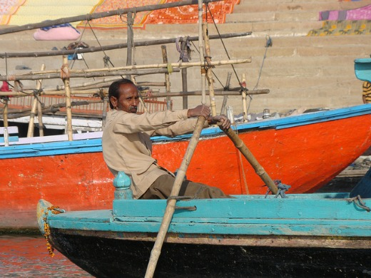Boatman on the River Ganges in Varanasi