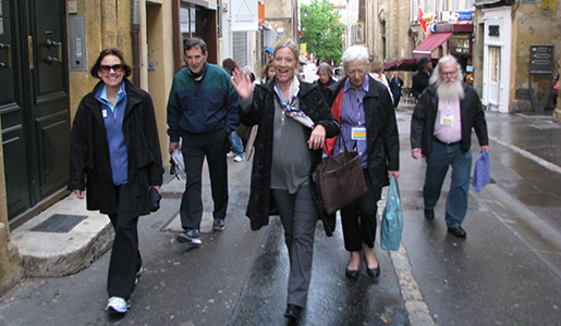The group walking to school through the back streets of Provence