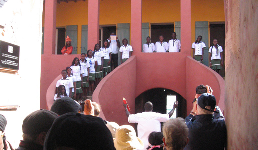 A choir performance at the House of Slaves