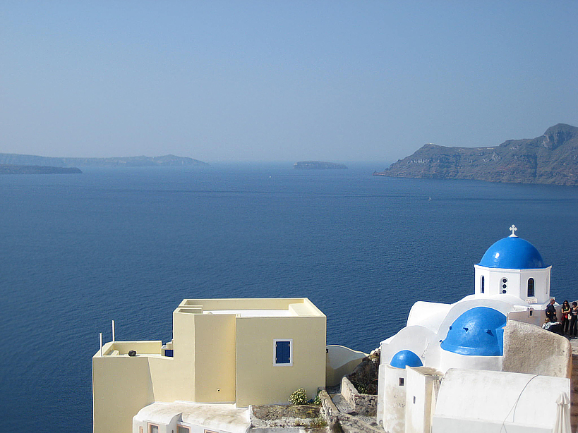 The Iconic blue-domed Church of Anastasis of Santorini. Photo: Patrick Wagner