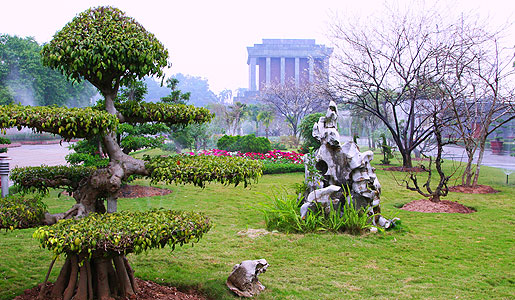 The Ho Chi Minh Mausoleum in Hanoi. The garden in front of the Mausoleum features more than 200 different plant species, all native to Vietnam.