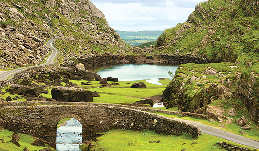 The Gap of Dunloe, a narrow pass near Killarney, Ireland.