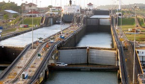Locks along the Panama Canal