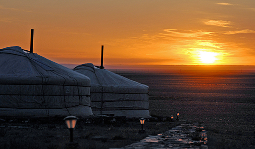 Sunrise over a Mongolian ger camp. Photo: David Chang