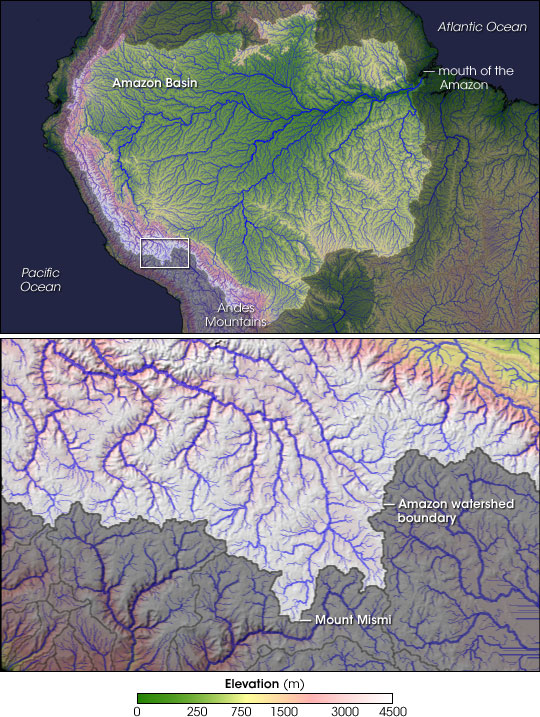 Scientists have pinpointed the origin of the Amazon River to a snowy mountaintop in the Southern Peruvian Andes. Photo: NASA
